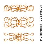 3d set of gold ornament on a... | Shutterstock . vector #381505894