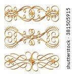 3d set of gold ornament on a... | Shutterstock . vector #381505915