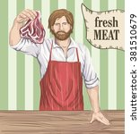 butcher offers fresh meat | Shutterstock .eps vector #381510679