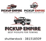 set of retro pickup truck logos ... | Shutterstock .eps vector #381518509