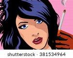 the beautiful girl smokes a...