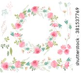 floral wreath with  roses and... | Shutterstock .eps vector #381537769