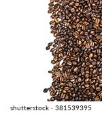 roasted coffee beans isolated... | Shutterstock . vector #381539395