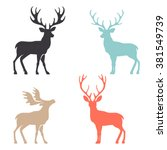 various silhouettes of deer... | Shutterstock .eps vector #381549739