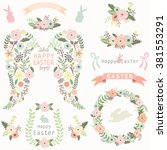 floral angel wing easter... | Shutterstock .eps vector #381553291