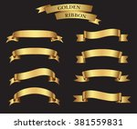 ribbon banner set.golden... | Shutterstock .eps vector #381559831
