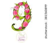 decorative number nine  made... | Shutterstock .eps vector #381560899