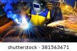 welding construction site... | Shutterstock . vector #381563671