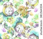 beautiful alarm clock with... | Shutterstock . vector #381564334