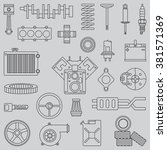 line flat vector icon car parts ... | Shutterstock .eps vector #381571369