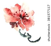 sakura. watercolor and ink... | Shutterstock . vector #381577117
