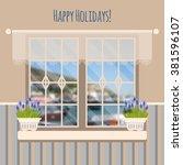 vector illustration with window ... | Shutterstock .eps vector #381596107