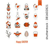 celebration easter icons. .... | Shutterstock . vector #381602821