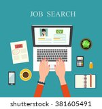 job searching concept.top view... | Shutterstock .eps vector #381605491
