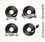 retro vinyl records badges | Shutterstock .eps vector #381614899