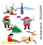 set of images on russian siberia | Shutterstock .eps vector #38163694