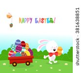 bunny delivering easter eggs | Shutterstock .eps vector #381638851