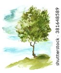Watercolor Tree On The Hill....