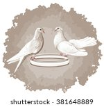 Vector Eps 10. Two Doves. Read...