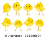 Set of cute cartoon chickens