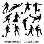 a set of silhouette soccer... | Shutterstock .eps vector #381659284