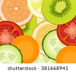 pattern realistic tomato ... | Shutterstock .eps vector #381668941