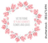 round frame of delicate pink... | Shutterstock .eps vector #381671494