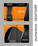 vector empty bi fold brochure... | Shutterstock .eps vector #381673489