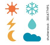 weather forecast signs  sun ... | Shutterstock .eps vector #381677491