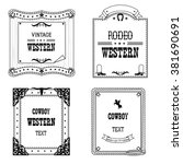 set of labels and frames in... | Shutterstock .eps vector #381690691