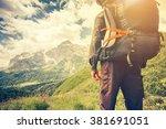 traveler man with backpack... | Shutterstock . vector #381691051