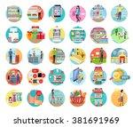 people in supermarket interior... | Shutterstock .eps vector #381691969