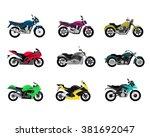 set of motorcycle design flat...   Shutterstock .eps vector #381692047