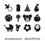 set of baby objects icon....   Shutterstock .eps vector #381695101