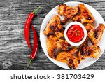 roasted hot and spicy chicken... | Shutterstock . vector #381703429