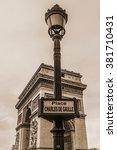 arc de triomphe de l'etoile on... | Shutterstock . vector #381710431