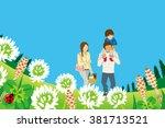 family enjoying picnic in... | Shutterstock .eps vector #381713521