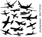 assorted plane silhouettes... | Shutterstock .eps vector #38171923