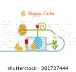 happy easter card with eggs ... | Shutterstock .eps vector #381727444