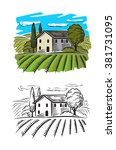 vector doodle image of village... | Shutterstock .eps vector #381731095