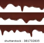 melted chocolate dripping set... | Shutterstock .eps vector #381732835