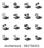 hand and money icon set for web ... | Shutterstock .eps vector #381736321