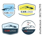 set of modern car emblems ... | Shutterstock .eps vector #381736795