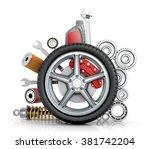 the concept of truck wheels... | Shutterstock . vector #381742204