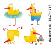 kids duck funny toy set. bird... | Shutterstock .eps vector #381744169