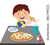 boy eating pizza. vector... | Shutterstock .eps vector #381749221