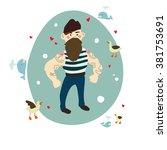 hand drawn sea cartoon... | Shutterstock .eps vector #381753691