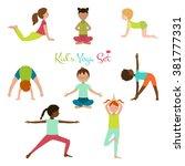 vector illustration of kid yoga ...   Shutterstock .eps vector #381777331