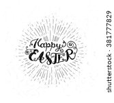 easter vector vintage card with ... | Shutterstock .eps vector #381777829