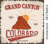 Vintage Label With Canyon And...